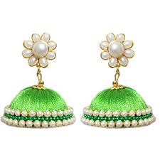 pachi earrings buy yathnics green silk thread earrings jhumki with pachi studs