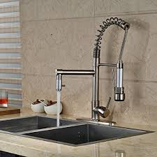 Bar Faucet With Sprayer Brushed Nickel Kitchen Sink Faucet Pull Out Down Sprayer Mixer