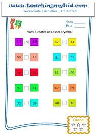kindergarten math activities mark greater or lesser numbers