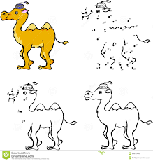 cartoon camel vector illustration coloring and dot to dot game