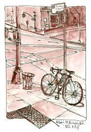 nyc urban sketching w 166 st nicholas ave bicycle value sketch