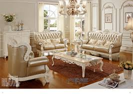 Wooden Living Room Sets Luxury European Royal Style Golden Oak Solid Wood Leather Sofas