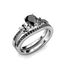 bridal set rings black diamond four prong milgrain work bridal set ring wedding