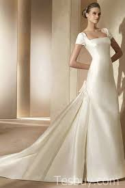 Wedding Dress On Sale Square Neckline Satin Short Sleeves Ivory Wedding Gowns On Sale