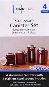 mainstays red stoneware kitchen canister set 4pc stainless steel