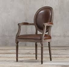 Leather Armchairs Vintage French Round Leather Armchair