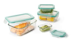 Food Storage Container Sets - 8 piece smart seal glass rectangle container set glass food