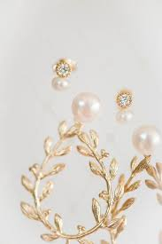 gold second studs tiny pearl and stud earrings j adorn designs