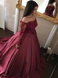 maroon quinceanera dresses gown shoulder sleeves maroon satin appliques