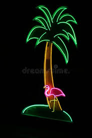 palm tree neon light neon sign with palm tree and flamingo stock image image of pink