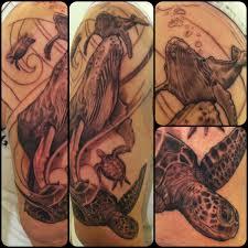 humpback whale and sea turtle wildlife tattoo maximilian tattoo