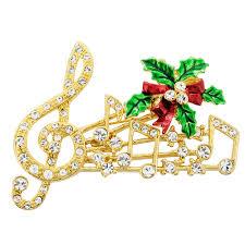 christmas mistletoe golden christmas mistletoe note swarovski pin brooch