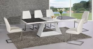 High Gloss Extending Dining Table Modern Extending Glass Dining Table In White Choice Of Size