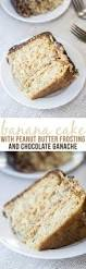 banana cake with peanut butter frosting and chocolate ganache