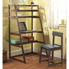 furniture stunning ladder shelf computer desk design teak wood in