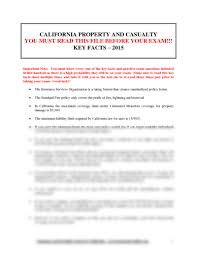 california property and casualty key facts for exam day 2015 2