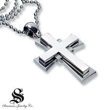 stainless cross necklace images Kay diamond cross pendant 1 10 ct tw round cut stainless steel jpg