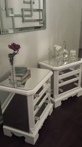 Mirrored Night Stands Mirrored Nightstand Set White With Trim Glamorous