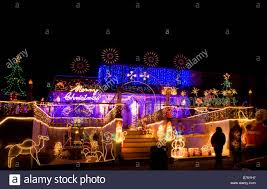 illuminated house christmas decorations high wycombe bucks stock
