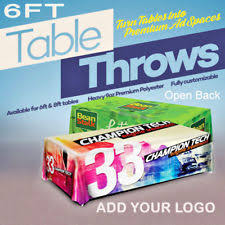 6ft Imprinted Table Cover Custom Custom Printed Table Cover 6ft Trade Show Tablecover Full Color 6