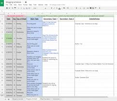 Schedule Spreadsheet Editorial Blogging Calendar And Schedule Free Template