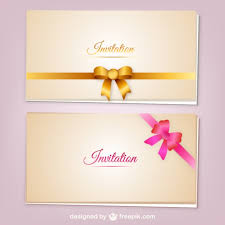 free invitation cards invitation cards with ribbons vector vector free