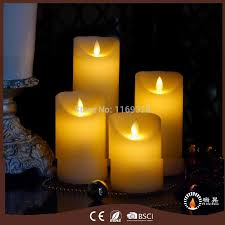 set of 4pcs battery operated pillar candles wax led candle