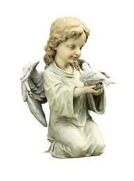 amazon com napco kneeling angel with dove garden statue 12 inch
