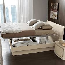modern white up and down bed dark oak parquete flooring wall