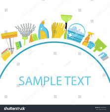 set icons cleaning toolstemplate text house stock vector 494360035