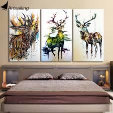 livingroom paintings aliexpress com buy hd printed 3 piece elk graffiti deer canvas