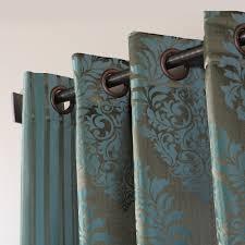 Teal Damask Curtains Wide Width Damask Jacquard Grommet Curtain Pair Blue Nile