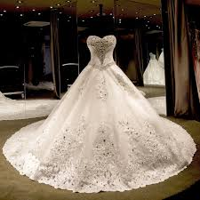 luxury wedding dresses beading gown sweetheart cathedral wedding dress