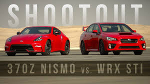 subaru sport car 2017 shootout nissan 370z nismo vs subaru wrx sti are red track toys