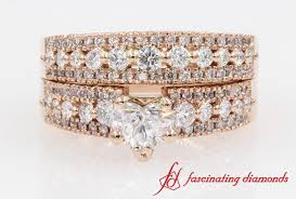 Rose Gold Wedding Ring Sets by Row Heart Diamond Wide Wedding Ring Set In Rose Gold