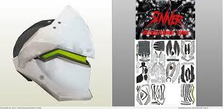 papercraft pdo file template for overwatch genji helmet