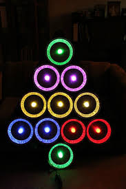 pie tin christmas tree with ge color effects led lights 7 steps
