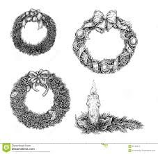 set of christmas design elements hand draw ink stock vector