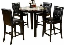 Faux Marble Top Dining Table 5 Piece Dining Set Round Faux Marble Table Top Black Leatherette
