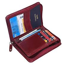 Style98 burgundy pure leather men 39 s travel wallet zipper