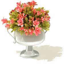 Silver Vase Ornate Silver Vase With Pink Flower Bouquet 3d Model