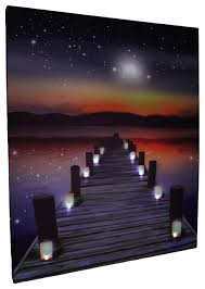 candlelit pier at sunset led lighted canvas print contemporary