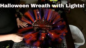 how to make a halloween wreath with mesh ribbon how to make a halloween wreath with tulle and spooky lights youtube