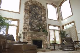 architecture living room natural stone fireplace wood fireplace