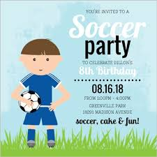 blue whimsical character soccer party invitation kids birthday