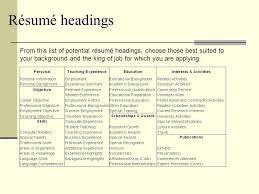 best resume headings eliolera com