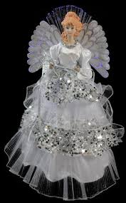 lighted fiber optic in silver sequined gown tree