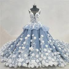 dusty wedding dress fantastic gown illusion neckline dusty blue organza lace