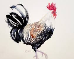 Black And White Rooster Decor Rooster Hen Watercolor Painting Original Art Wall Decor