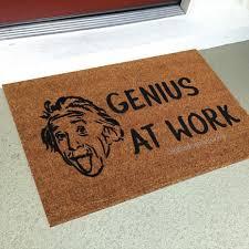 doormat funny genius at work custom handpainted funny einstein welcome doormat by